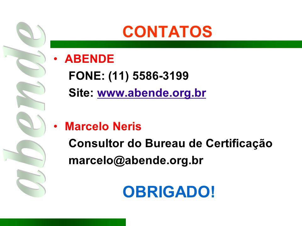 CONTATOS OBRIGADO! ABENDE FONE: (11) 5586-3199 Site: www.abende.org.br