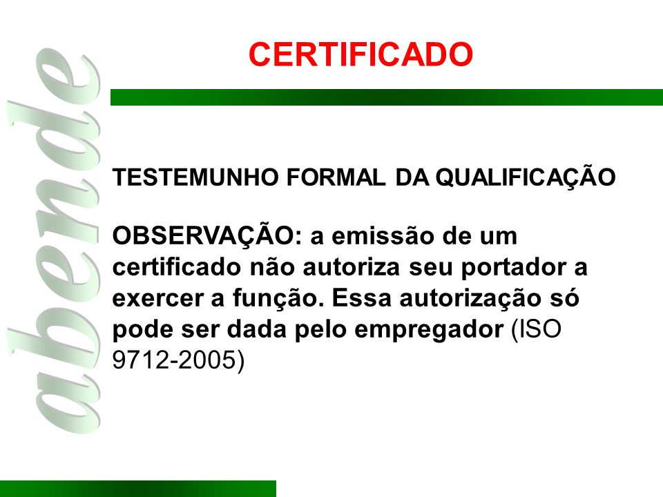 CERTIFICADO TESTEMUNHO FORMAL DA QUALIFICAÇÃO.