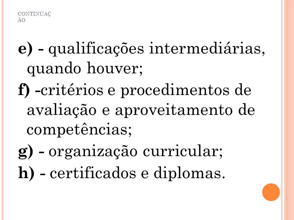 e) - qualificações intermediárias, quando houver;