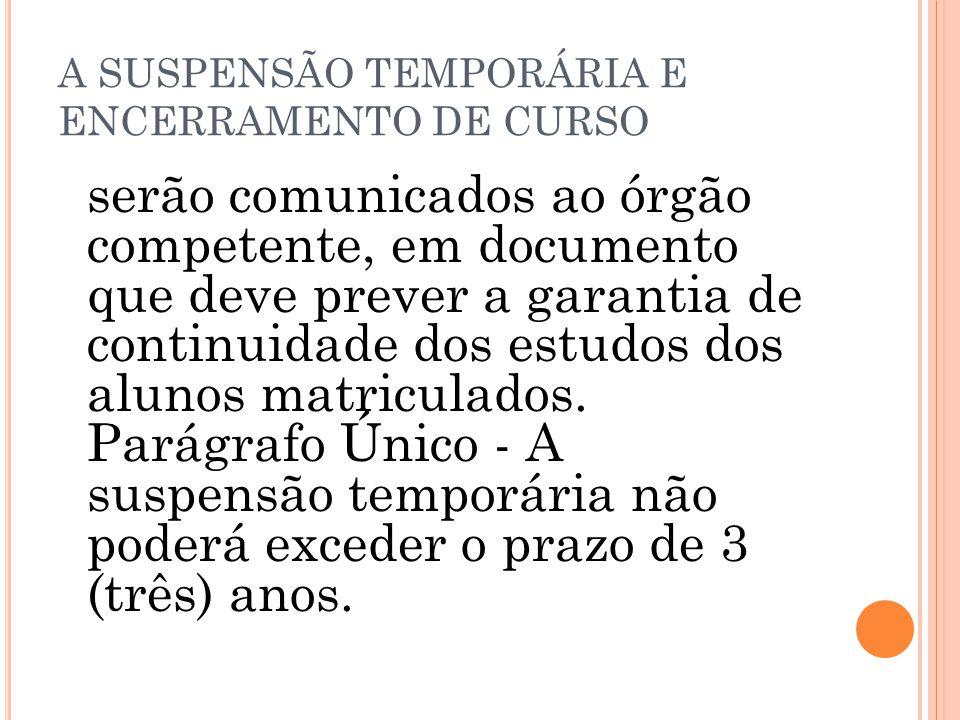 A SUSPENSÃO TEMPORÁRIA E ENCERRAMENTO DE CURSO