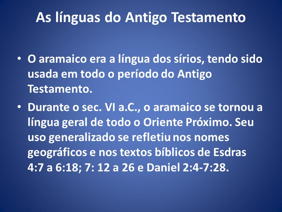 As línguas do Antigo Testamento