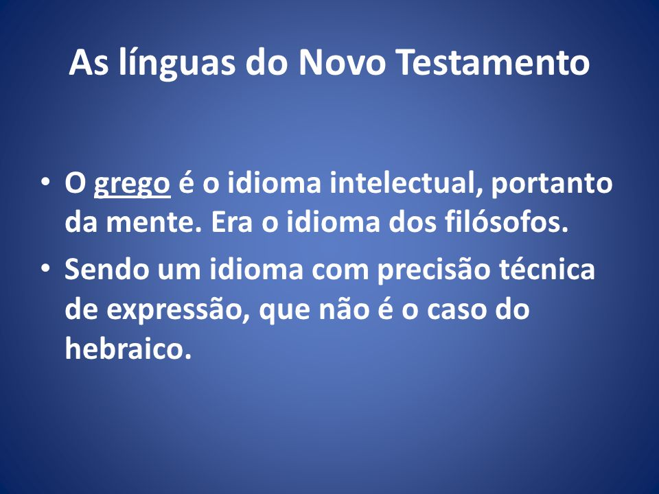As línguas do Novo Testamento