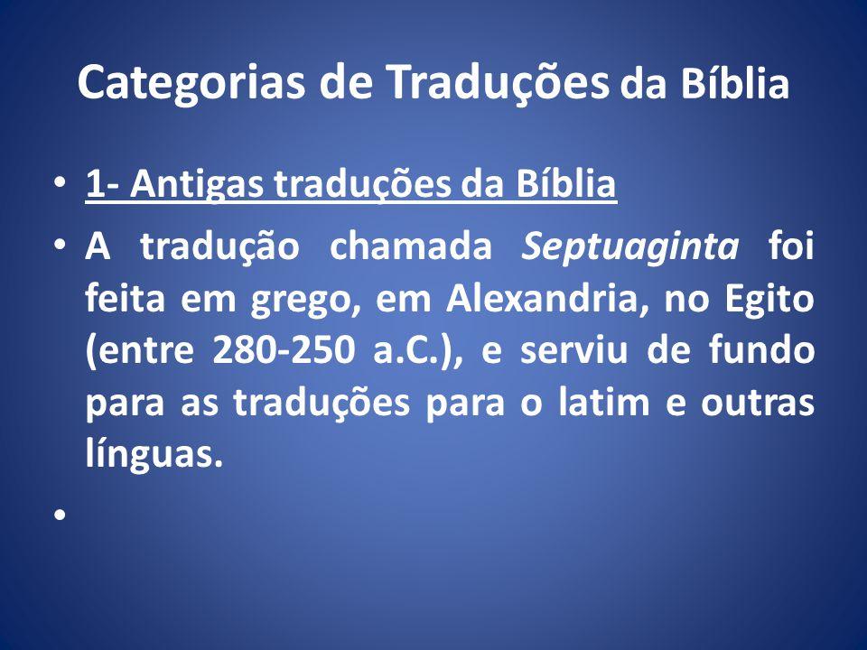 Categorias de Traduções da Bíblia