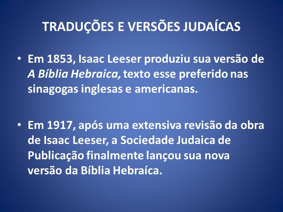 TRADUÇÕES E VERSÕES JUDAÍCAS