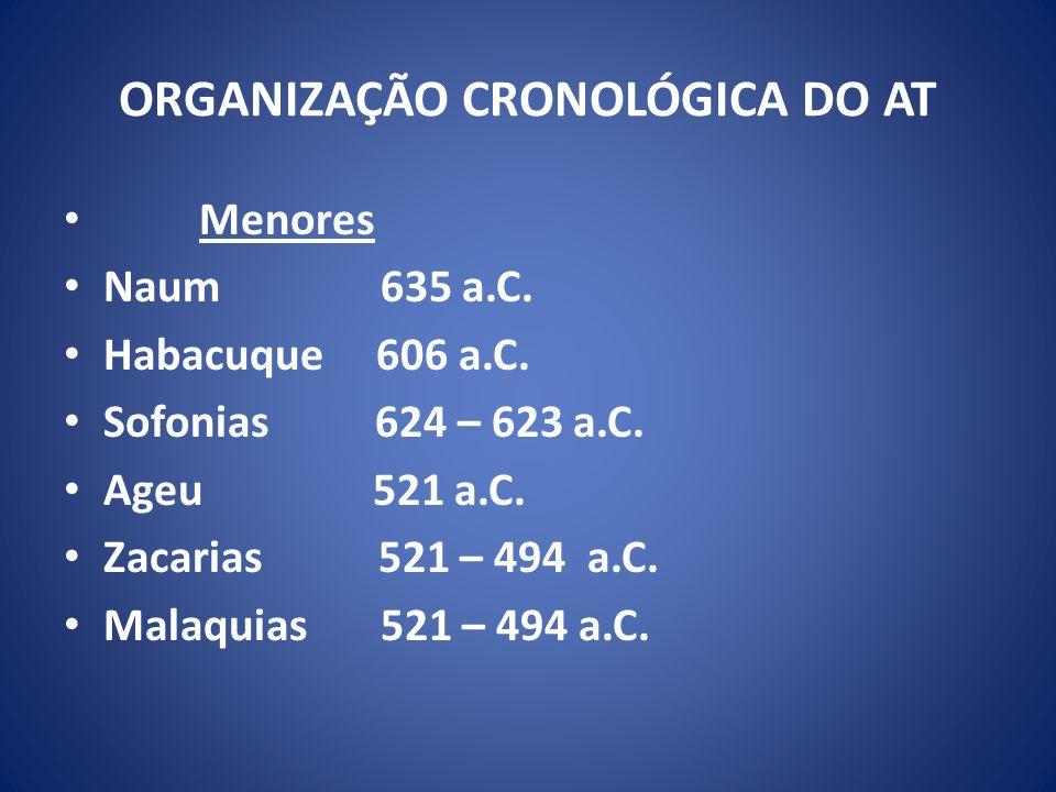 ORGANIZAÇÃO CRONOLÓGICA DO AT