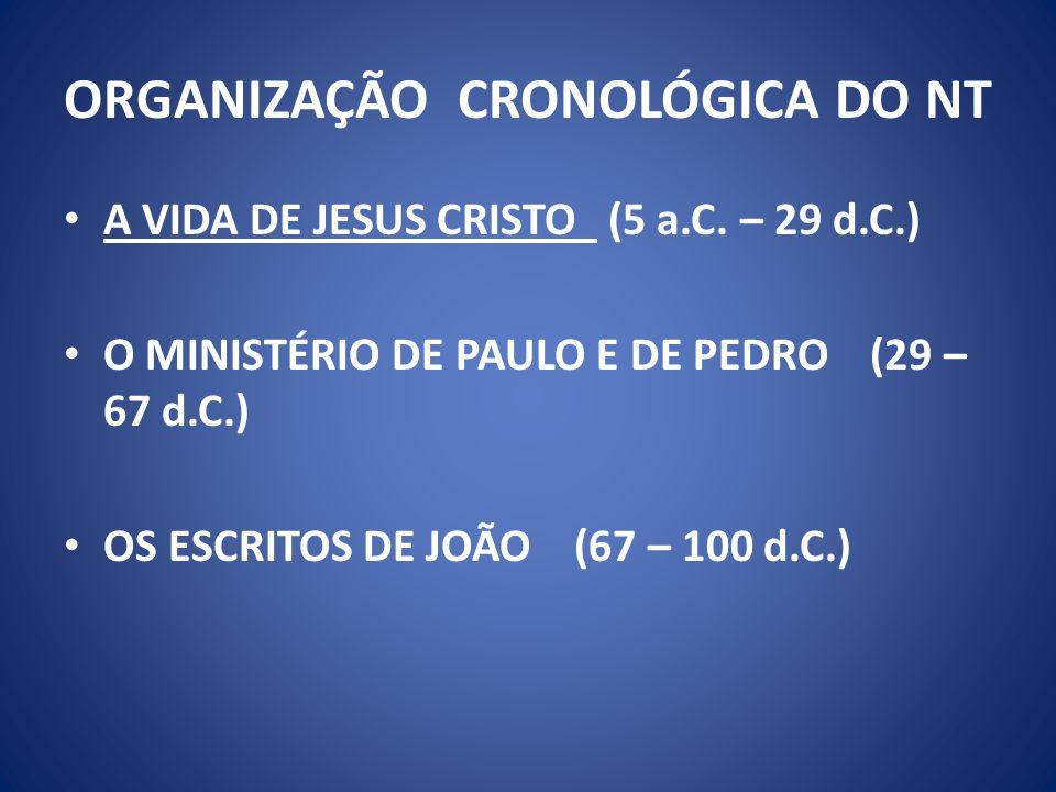 ORGANIZAÇÃO CRONOLÓGICA DO NT