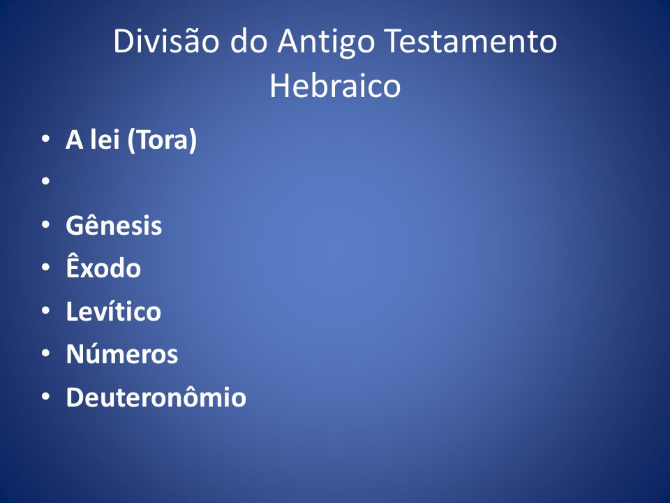 Divisão do Antigo Testamento Hebraico