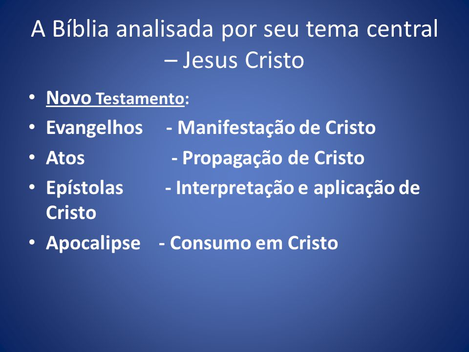 A Bíblia analisada por seu tema central – Jesus Cristo