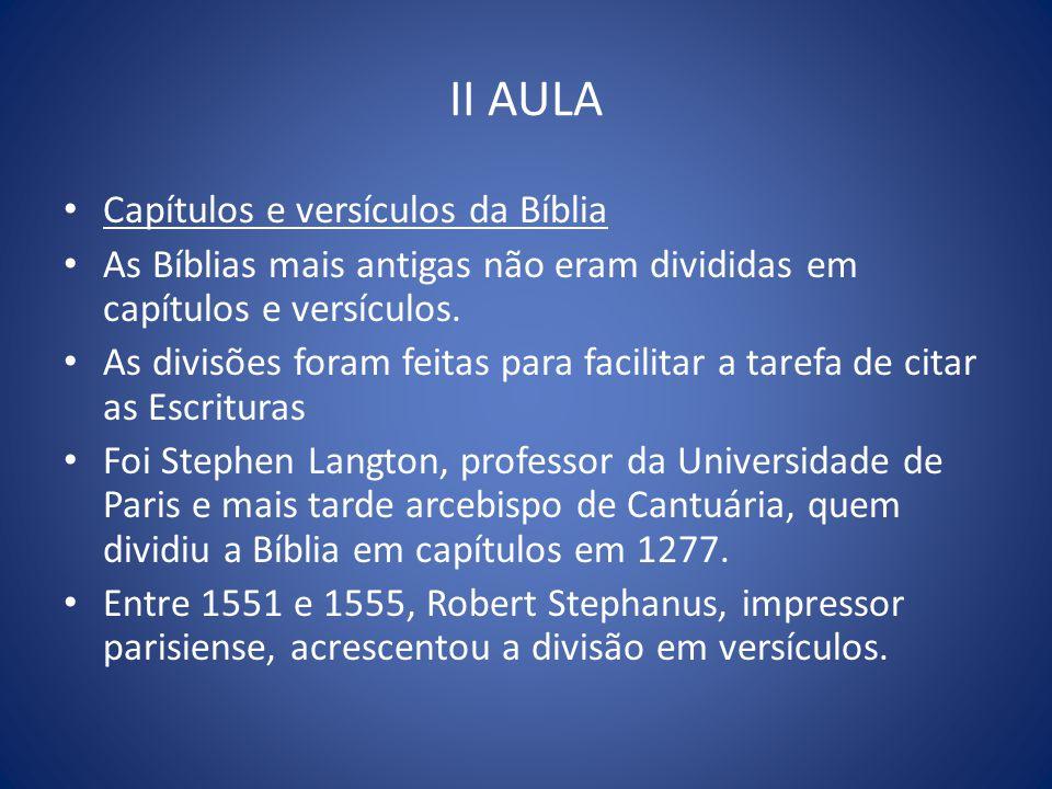 II AULA Capítulos e versículos da Bíblia