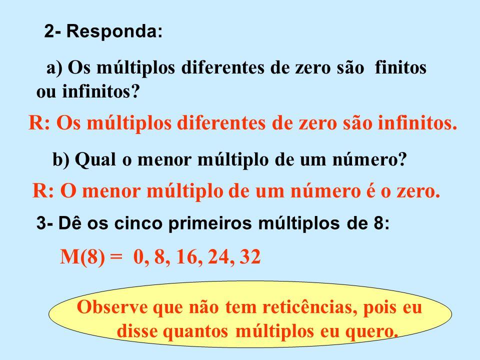 R: Os múltiplos diferentes de zero são infinitos.