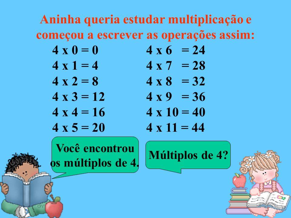 Aninha queria estudar multiplicação e começou a escrever as operações assim: