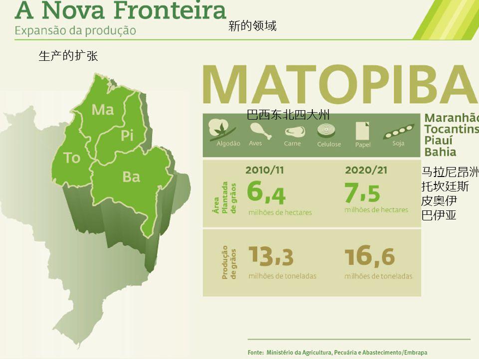 新的领域 生产的扩张 巴西东北四大州 马拉尼昂洲 托坎廷斯 皮奥伊 巴伊亚