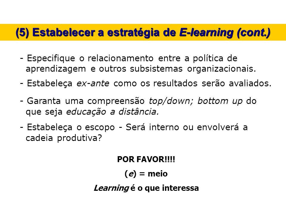 (5) Estabelecer a estratégia de E-learning (cont.)