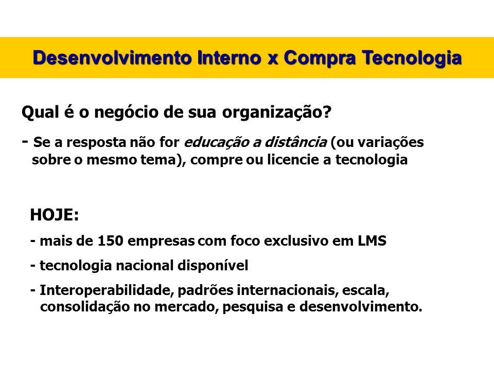 Desenvolvimento Interno x Compra Tecnologia