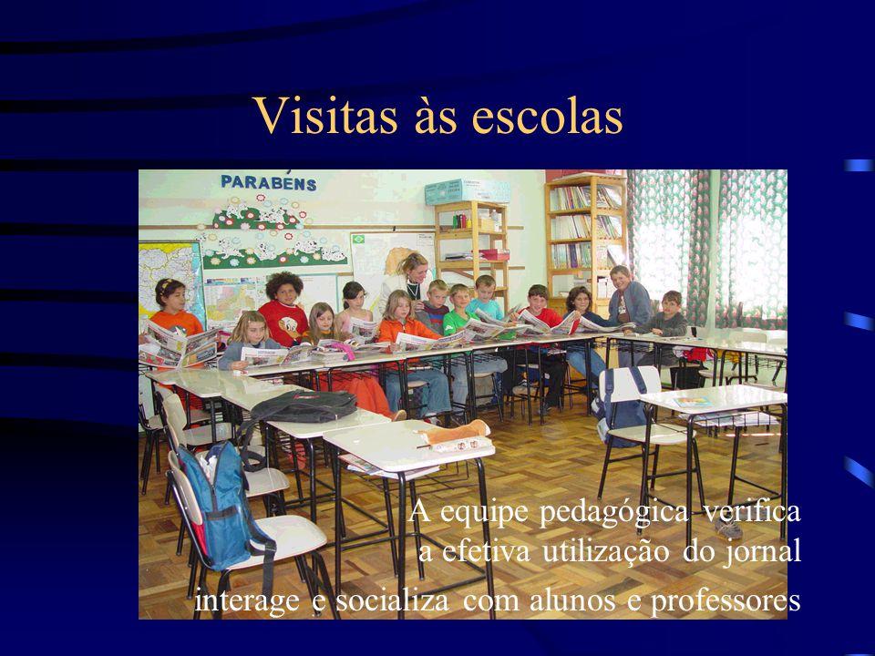 Visitas às escolas A equipe pedagógica verifica a efetiva utilização do jornal.