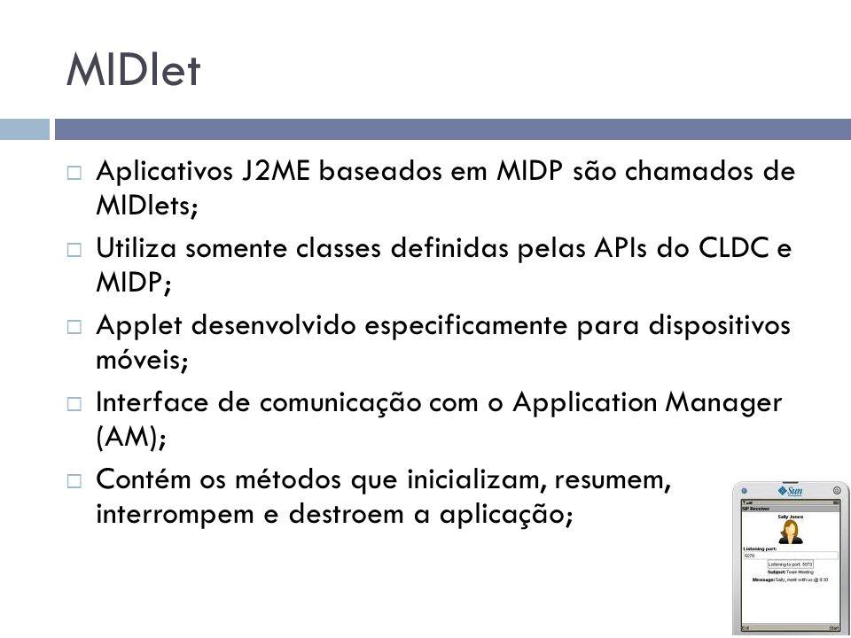 MIDlet Aplicativos J2ME baseados em MIDP são chamados de MIDlets;