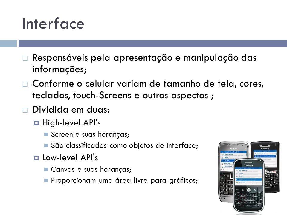 Interface Responsáveis pela apresentação e manipulação das informações;
