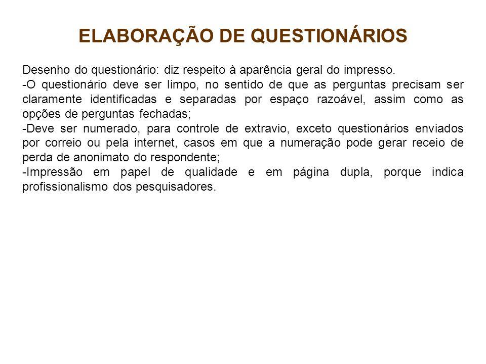ELABORAÇÃO DE QUESTIONÁRIOS