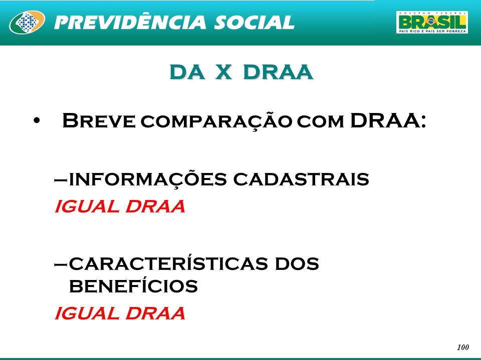 Breve comparação com DRAA: