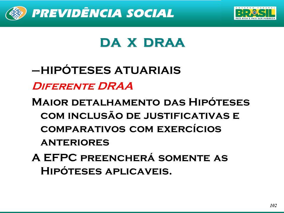 DA X DRAA HIPÓTESES ATUARIAIS Diferente DRAA
