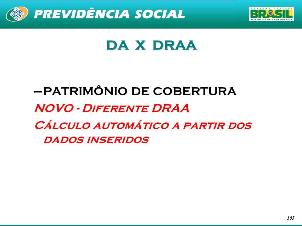 DA X DRAA PATRIMÔNIO DE COBERTURA NOVO - Diferente DRAA