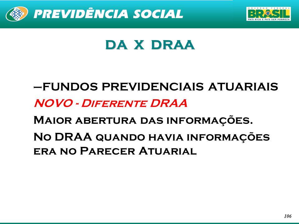 DA X DRAA FUNDOS PREVIDENCIAIS ATUARIAIS NOVO - Diferente DRAA