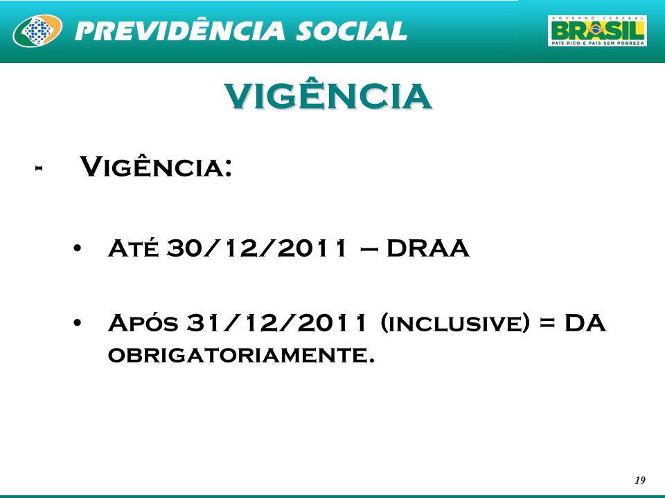 VIGÊNCIA Vigência: Até 30/12/2011 – DRAA