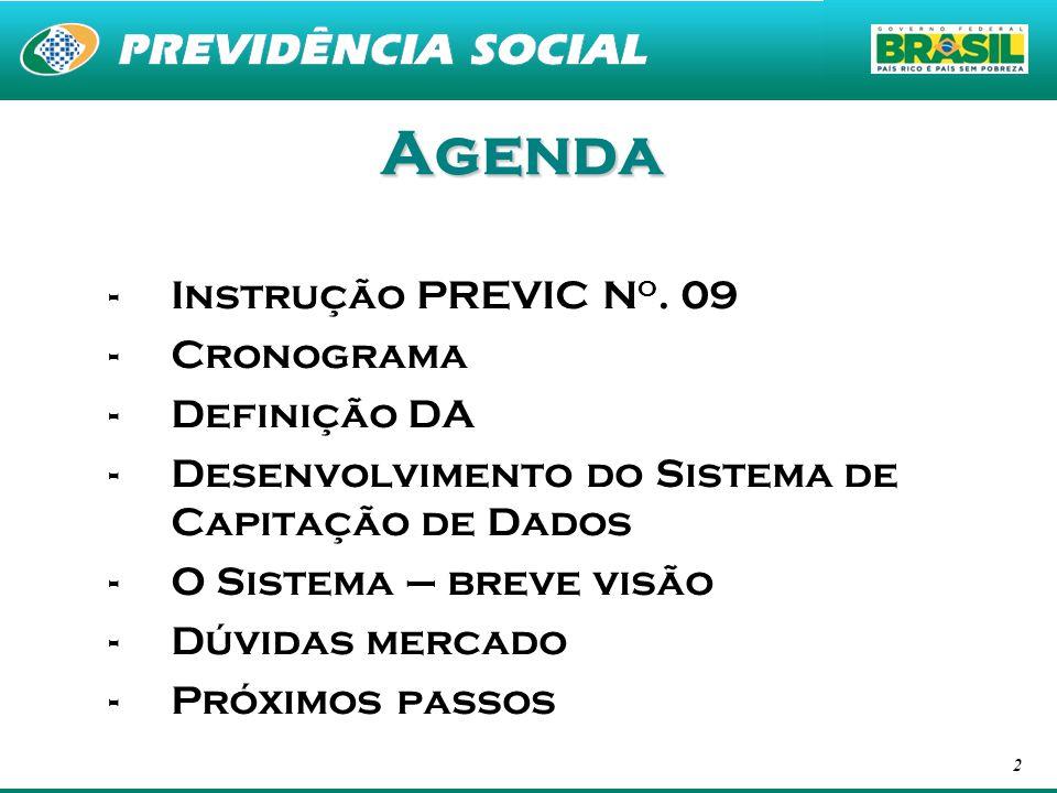 Agenda Instrução PREVIC No. 09 Cronograma Definição DA