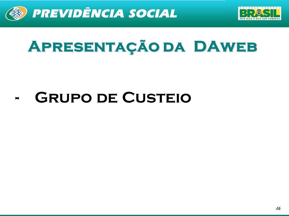 Apresentação da DAweb Grupo de Custeio