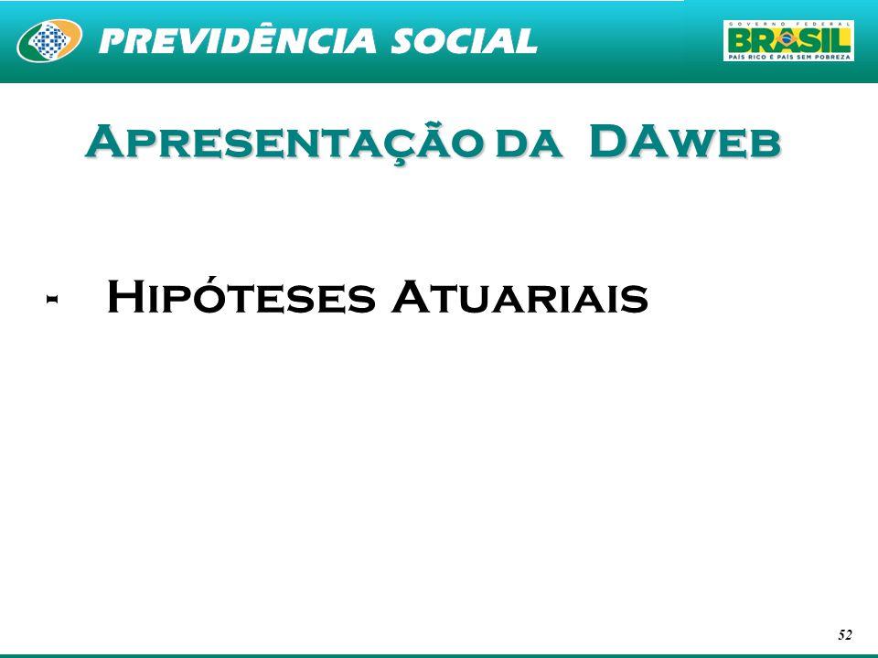 Apresentação da DAweb Hipóteses Atuariais
