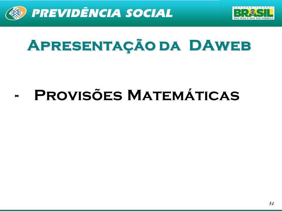 Apresentação da DAweb Provisões Matemáticas