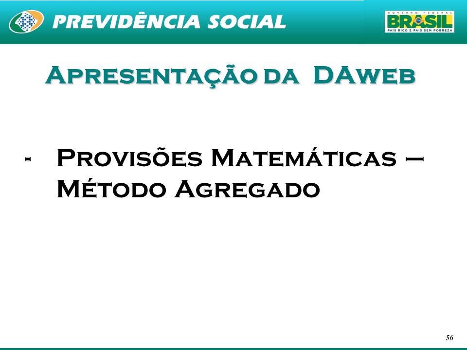 Apresentação da DAweb Provisões Matemáticas – Método Agregado