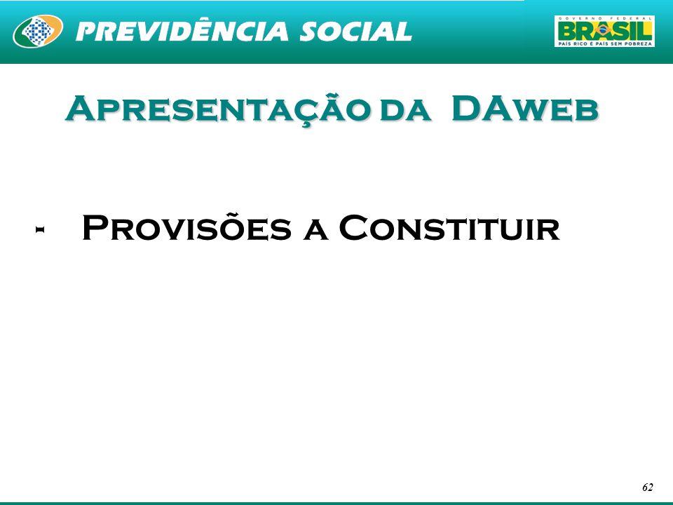 Apresentação da DAweb Provisões a Constituir