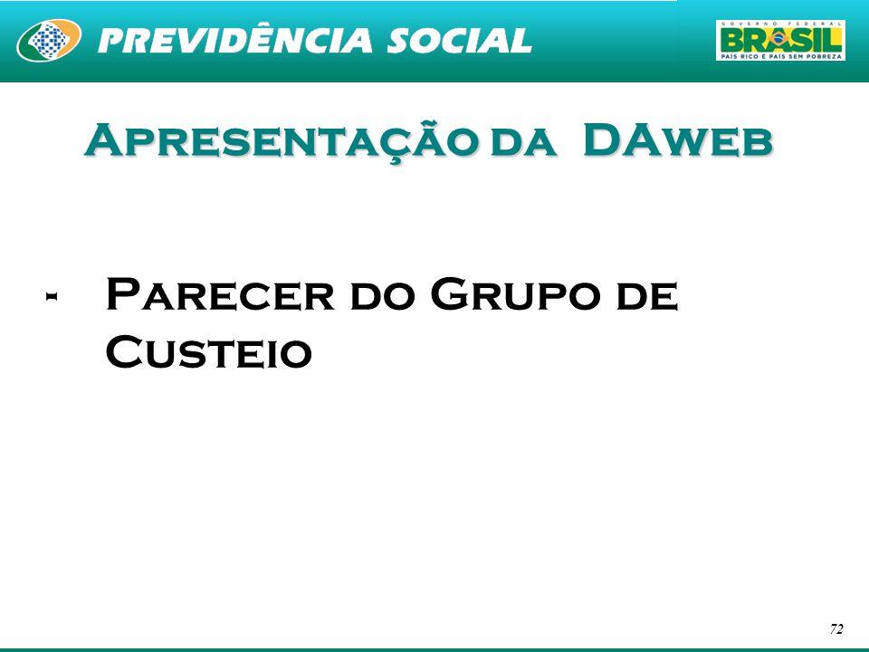 Apresentação da DAweb Parecer do Grupo de Custeio