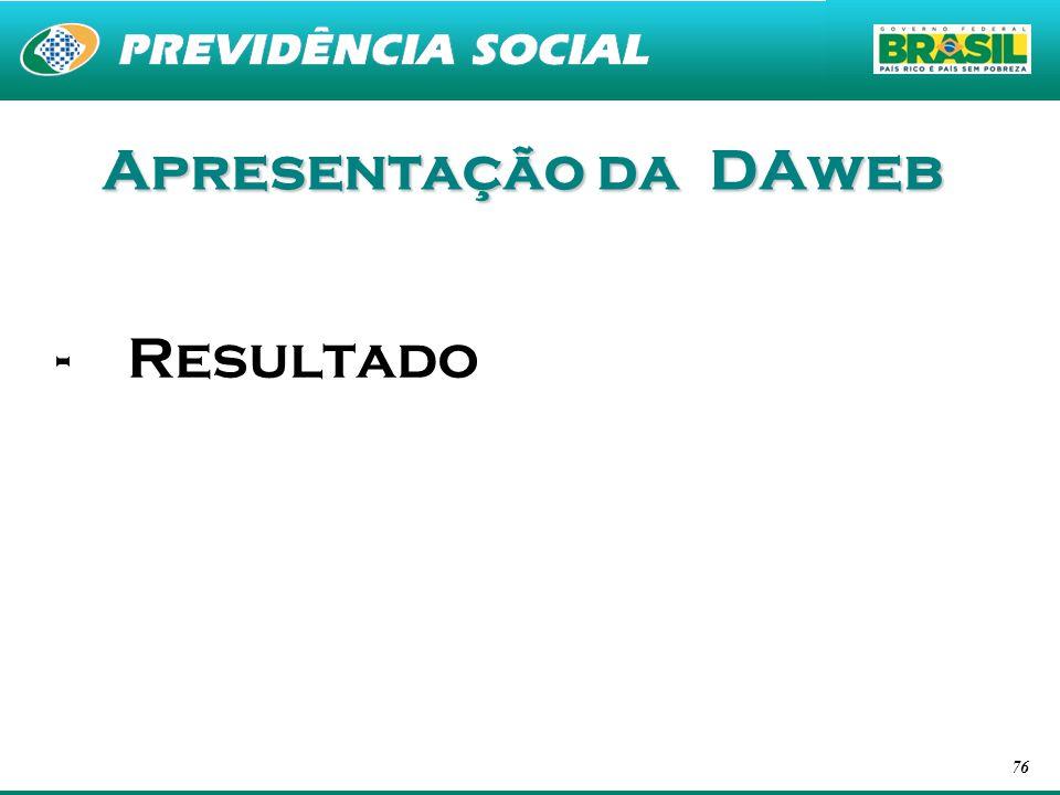 Apresentação da DAweb Resultado