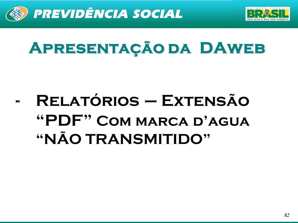 Apresentação da DAweb Relatórios – Extensão PDF Com marca d'agua NÃO TRANSMITIDO
