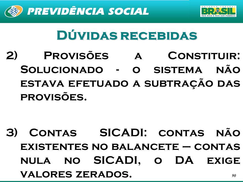 Dúvidas recebidas 2) Provisões a Constituir: Solucionado - o sistema não estava efetuado a subtração das provisões.