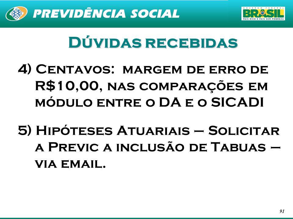 Dúvidas recebidas 4) Centavos: margem de erro de R$10,00, nas comparações em módulo entre o DA e o SICADI.