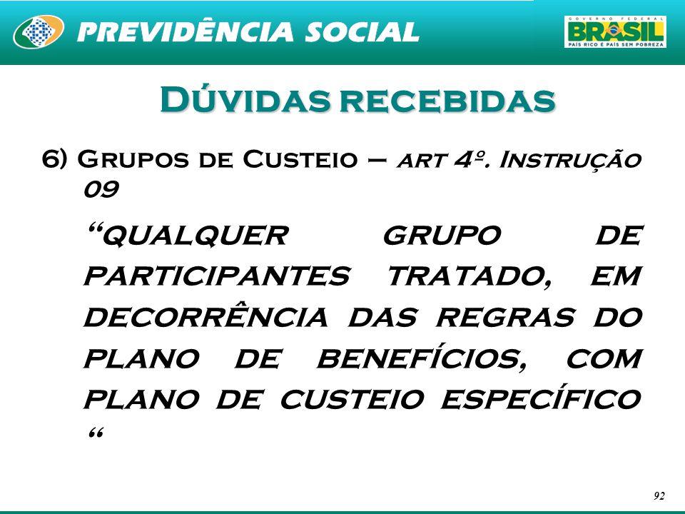 Dúvidas recebidas 6) Grupos de Custeio – art 4º. Instrução 09