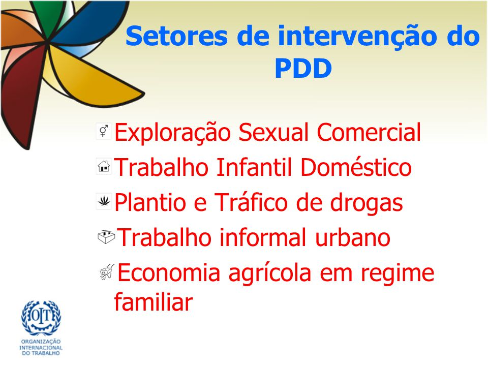 Setores de intervenção do PDD