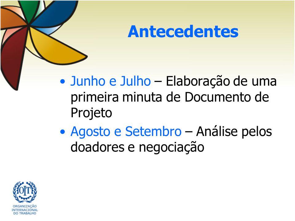 Antecedentes Junho e Julho – Elaboração de uma primeira minuta de Documento de Projeto.