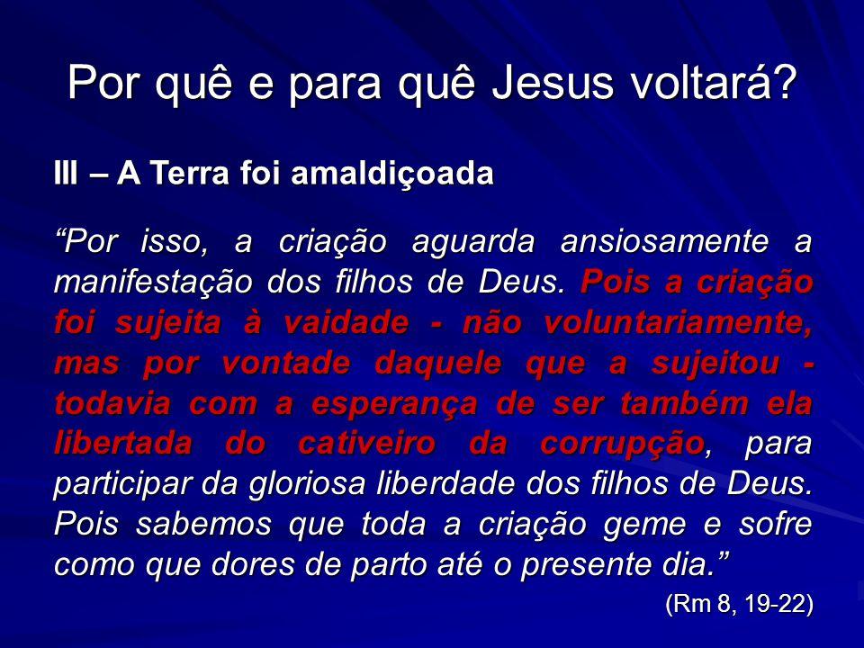 Por quê e para quê Jesus voltará