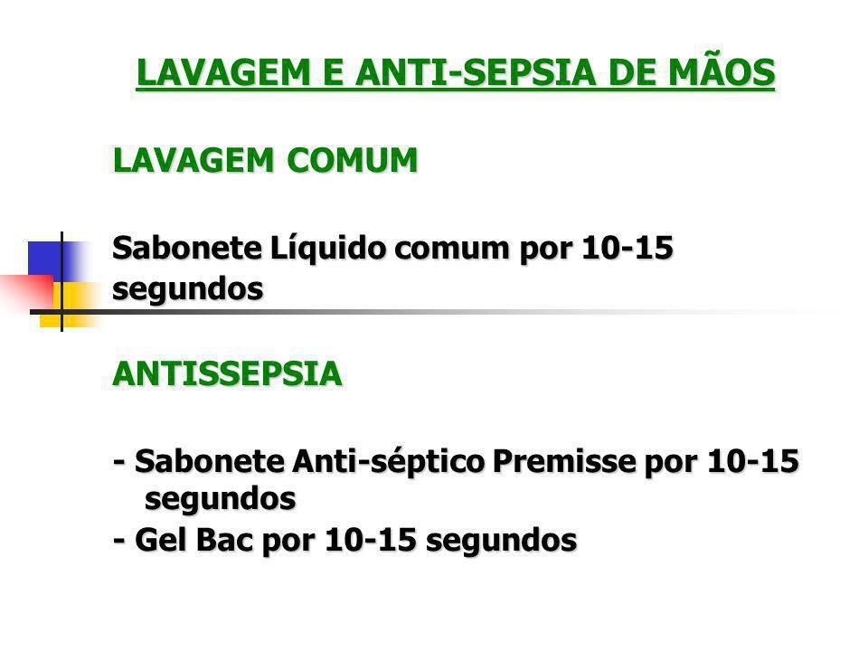 LAVAGEM E ANTI-SEPSIA DE MÃOS