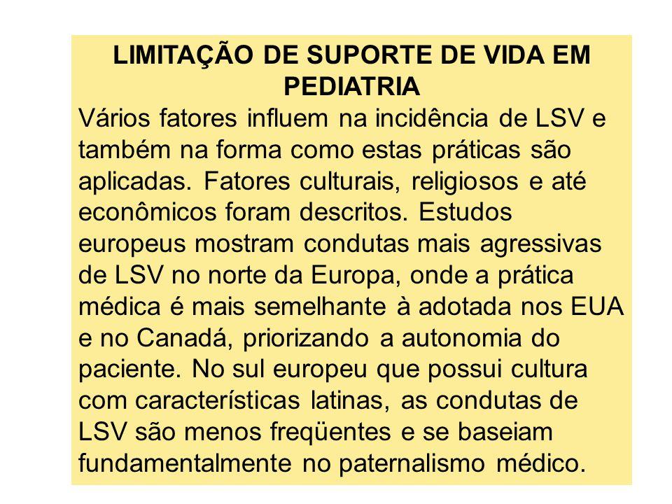 LIMITAÇÃO DE SUPORTE DE VIDA EM PEDIATRIA