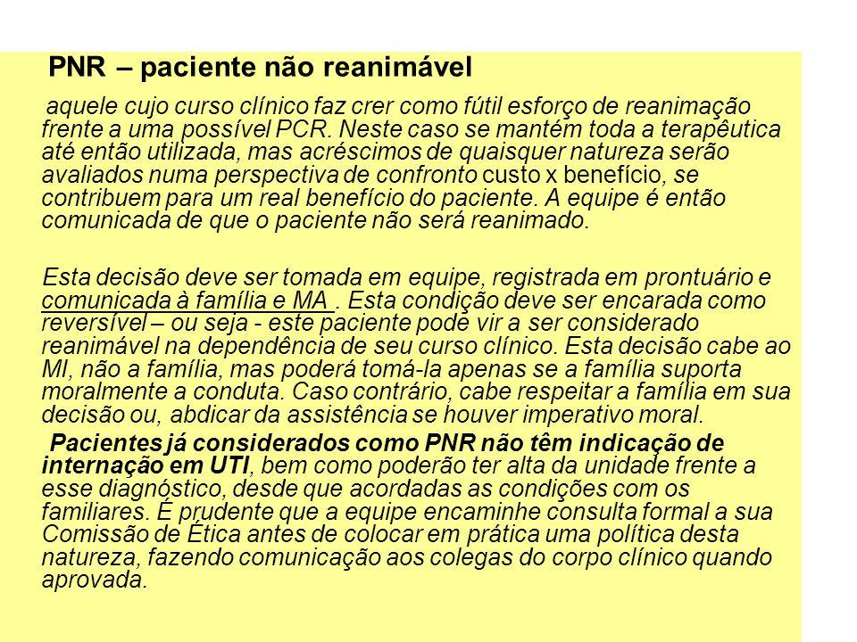 PNR – paciente não reanimável