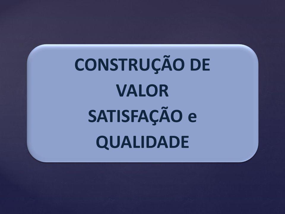 CONSTRUÇÃO DE VALOR SATISFAÇÃO e QUALIDADE