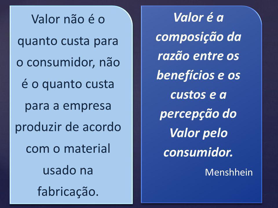 Valor não é o quanto custa para o consumidor, não é o quanto custa para a empresa produzir de acordo com o material usado na fabricação.