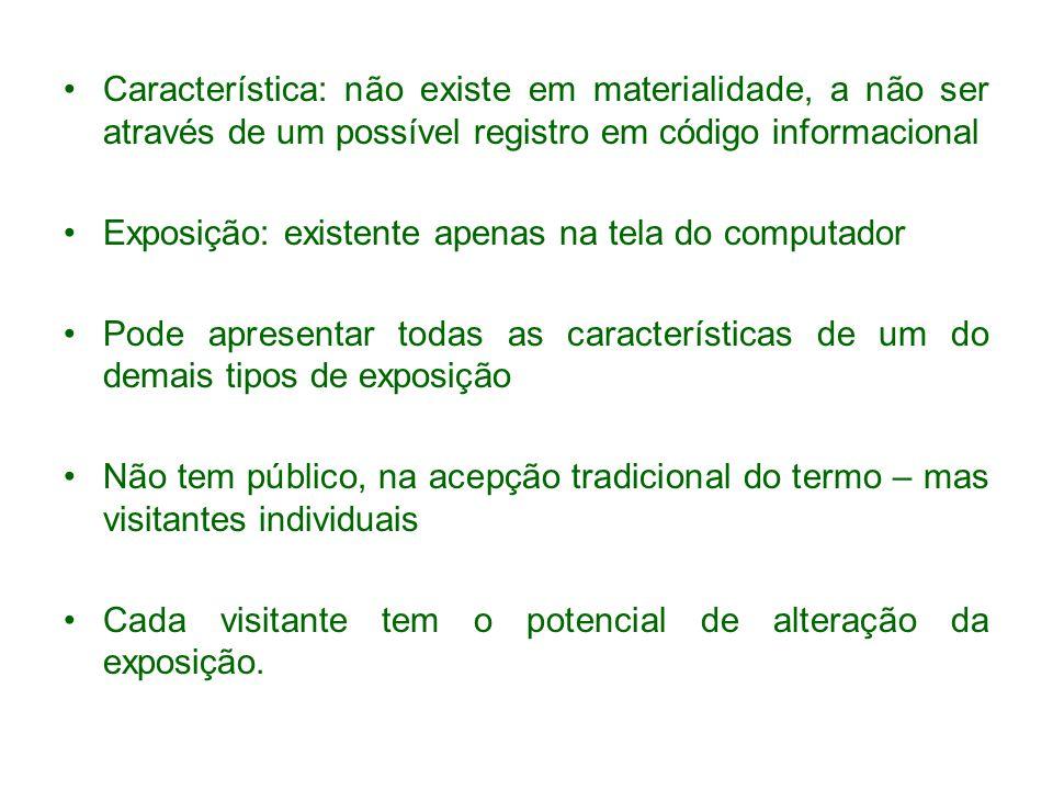 Característica: não existe em materialidade, a não ser através de um possível registro em código informacional
