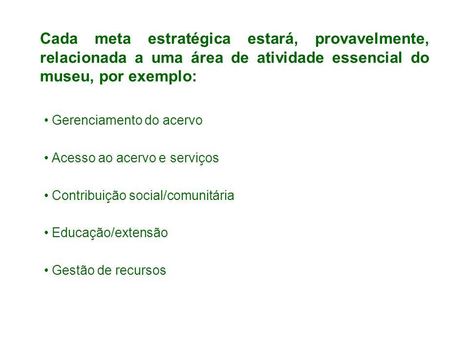 Cada meta estratégica estará, provavelmente, relacionada a uma área de atividade essencial do museu, por exemplo: