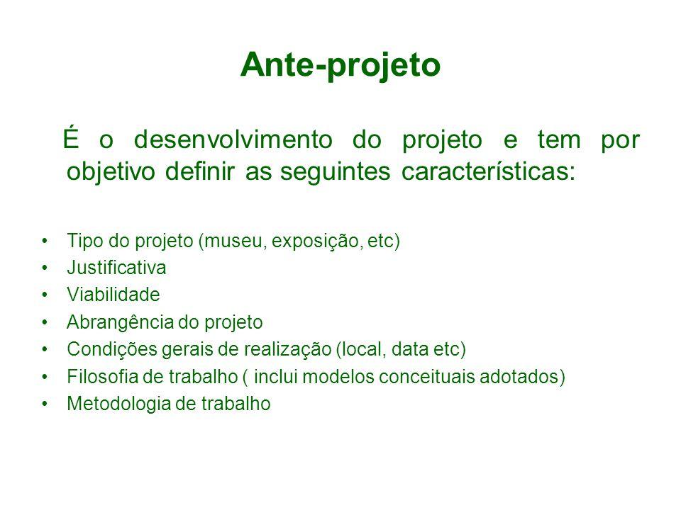 Ante-projeto É o desenvolvimento do projeto e tem por objetivo definir as seguintes características: